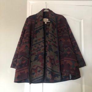 Aztec Print Wool Blend Coat
